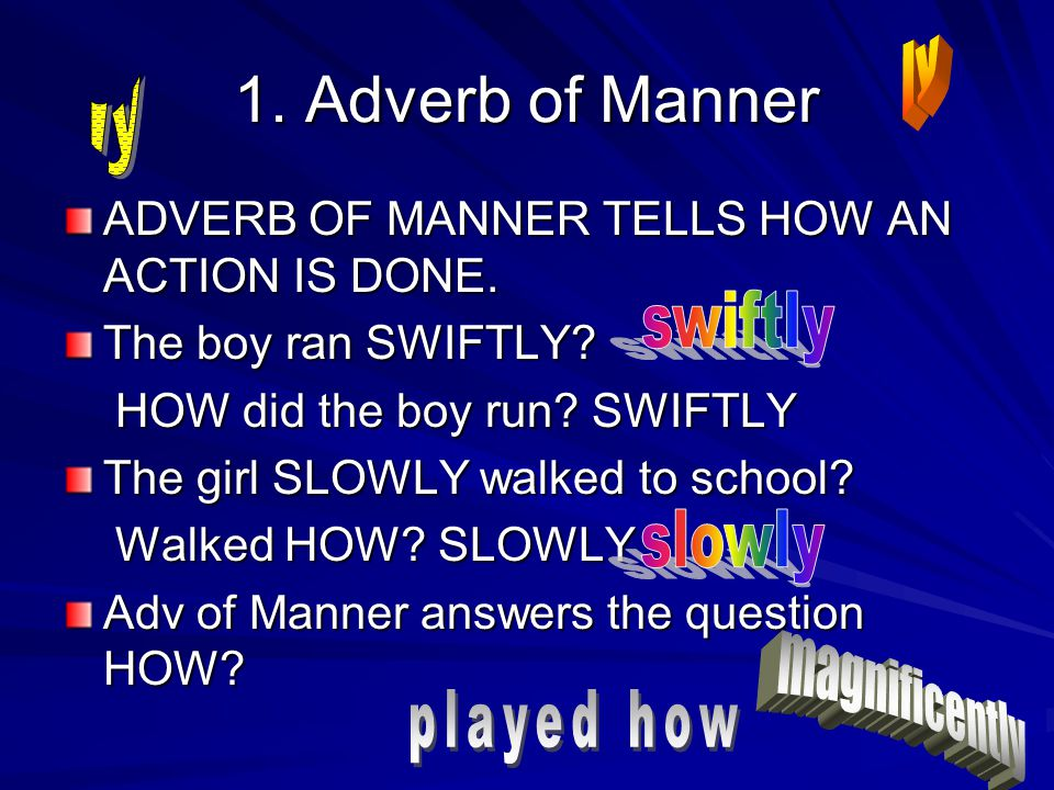 1.Adverb of Manner ADVERB OF MANNER TELLS HOW AN ACTION IS DONE.