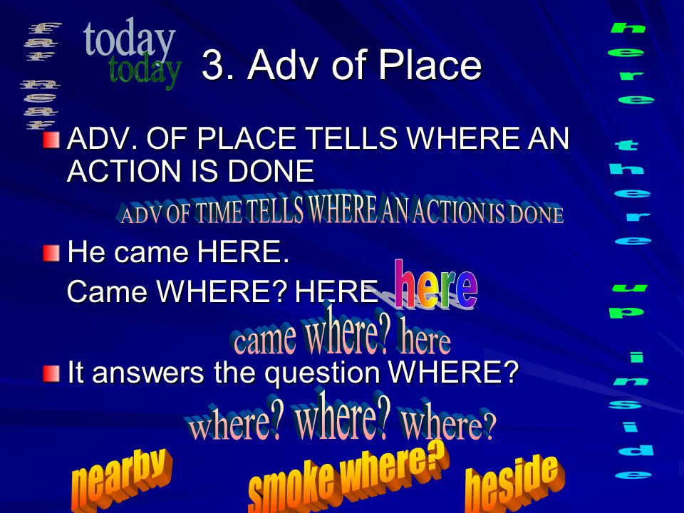 3.Adv of Place ADV. OF PLACE TELLS WHERE AN ACTION IS DONE He came HERE.