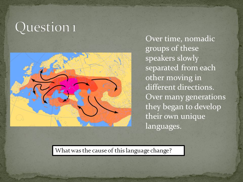 Geographic and social isolation Indo-european groups of people moved away from each other and formed their own languages (Germanic, Celtic, Slavic), communities, and cultures