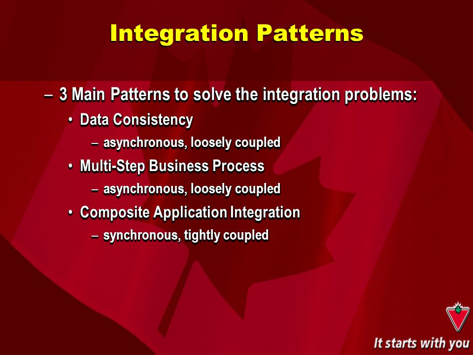– 3 Main Patterns to solve the integration problems: Data Consistency Data Consistency – asynchronous, loosely coupled Multi-Step Business Process Mul