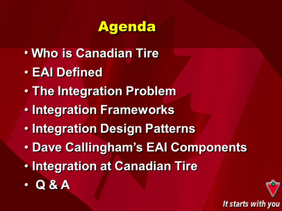 Agenda Who is Canadian Tire EAI Defined The Integration Problem Integration Frameworks Integration Design Patterns Dave Callingham's EAI Components In