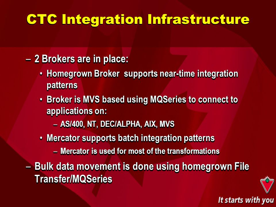 – 2 Brokers are in place: Homegrown Broker supports near-time integration patterns Homegrown Broker supports near-time integration patterns Broker is