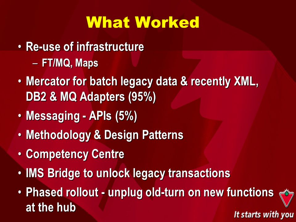 What Worked Re-use of infrastructure Re-use of infrastructure – FT/MQ, Maps Mercator for batch legacy data & recently XML, DB2 & MQ Adapters (95%) Mer