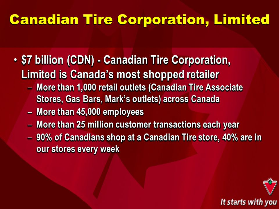 $7 billion (CDN) - Canadian Tire Corporation, Limited is Canada's most shopped retailer $7 billion (CDN) - Canadian Tire Corporation, Limited is Canad