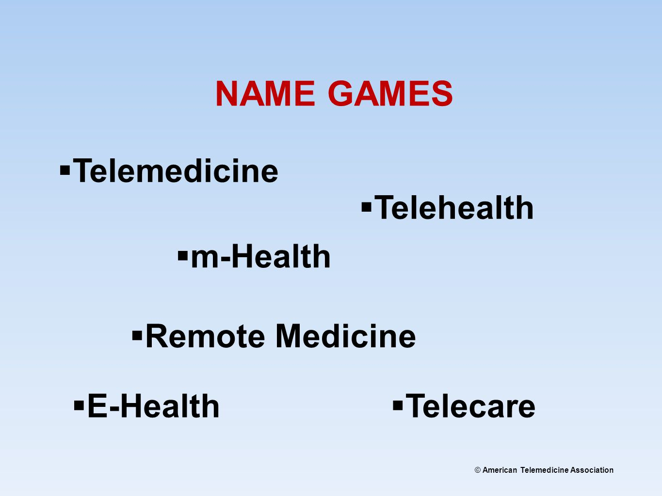 © American Telemedicine Association NAME GAMES  Telemedicine  Telehealth  E-Health  Telecare  Remote Medicine  m-Health