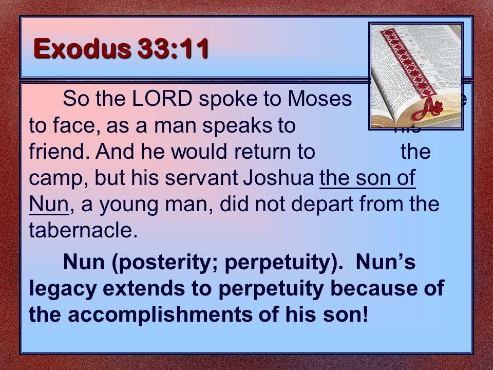 The Roles of Joshua As a Son Exodus 33:11 As a Slave Exodus 2:23-25