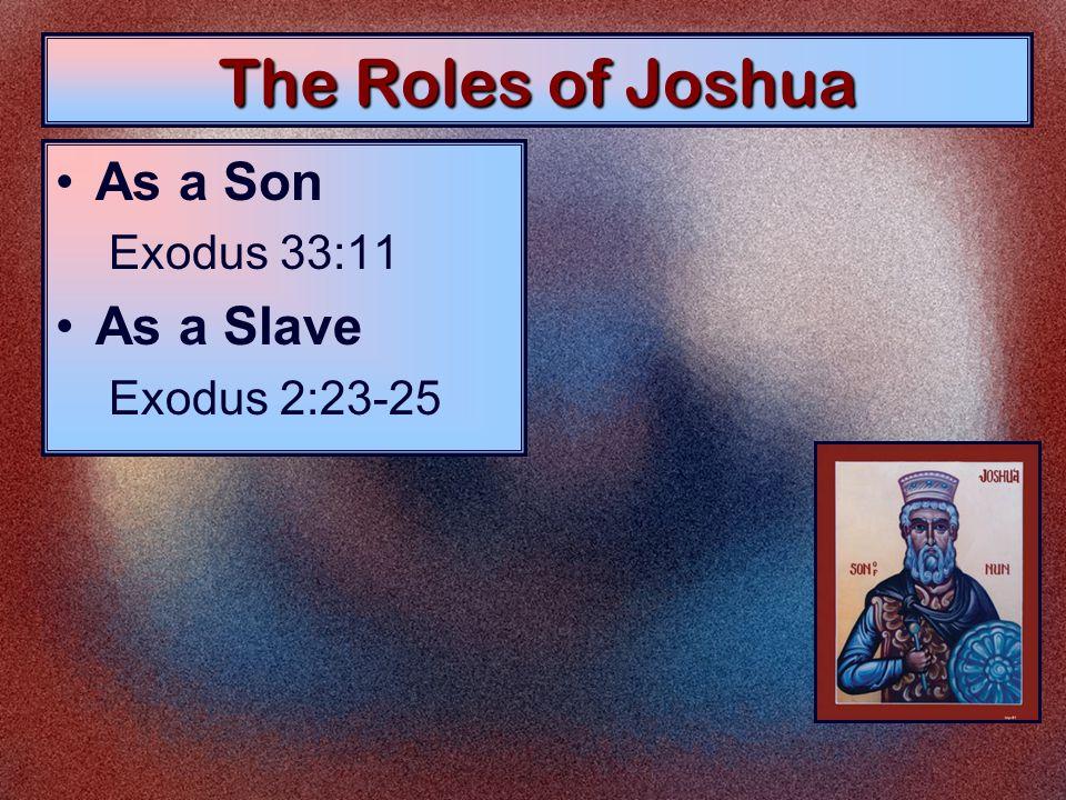 The Roles of Joshua As a Son Exodus 33:11 As a Slave Exodus 2:23-25 As a Servant Joshua 1:1; 24:29 As a Soldier Joshua 10:40, 42 As a Spy Numbers 13:1-16 As a Savior Joshua 24:15