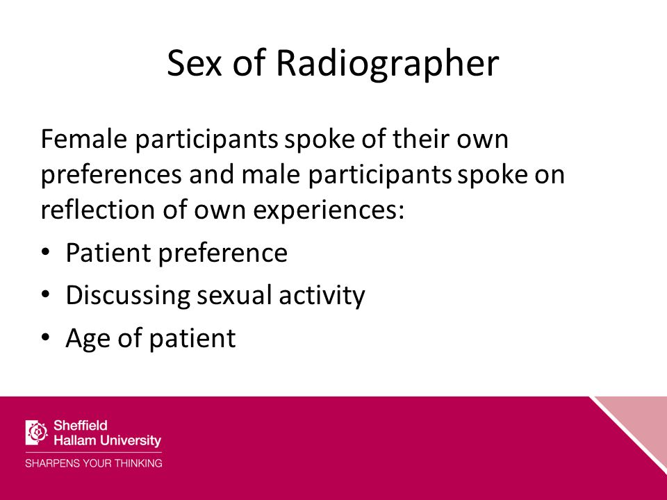 Sex of Radiographer Female participants spoke of their own preferences and male participants spoke on reflection of own experiences: Patient preference Discussing sexual activity Age of patient