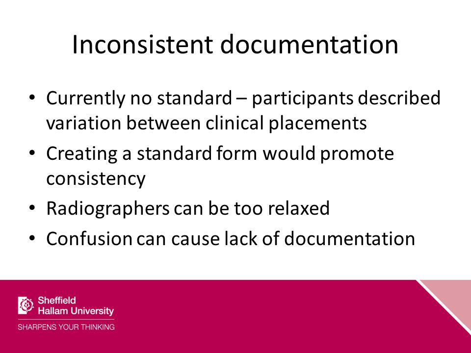 Inconsistent documentation Currently no standard – participants described variation between clinical placements Creating a standard form would promote consistency Radiographers can be too relaxed Confusion can cause lack of documentation