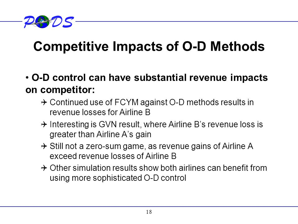 18 Competitive Impacts of O-D Methods O-D control can have substantial revenue impacts on competitor:  Continued use of FCYM against O-D methods resu