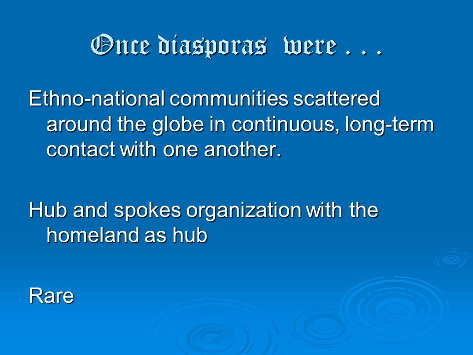 Once diasporas were...