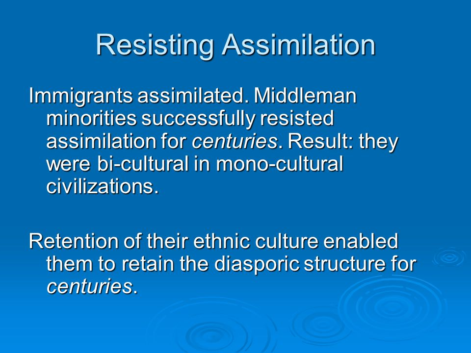 Resisting Assimilation Immigrants assimilated.