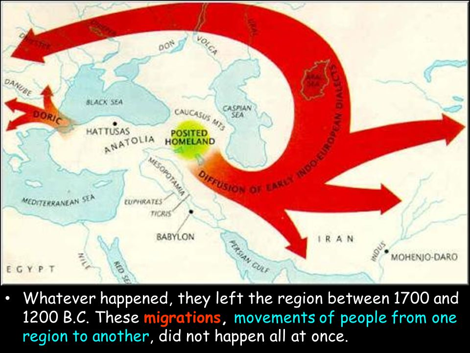 migration Whatever happened, they left the region between 1700 and 1200 B.C. These migrations, movements of people from one region to another, did not