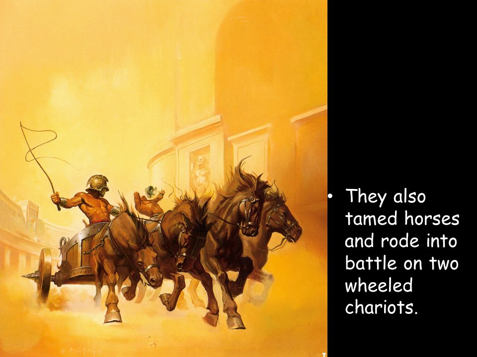 They also tamed horses and rode into battle on two wheeled chariots.