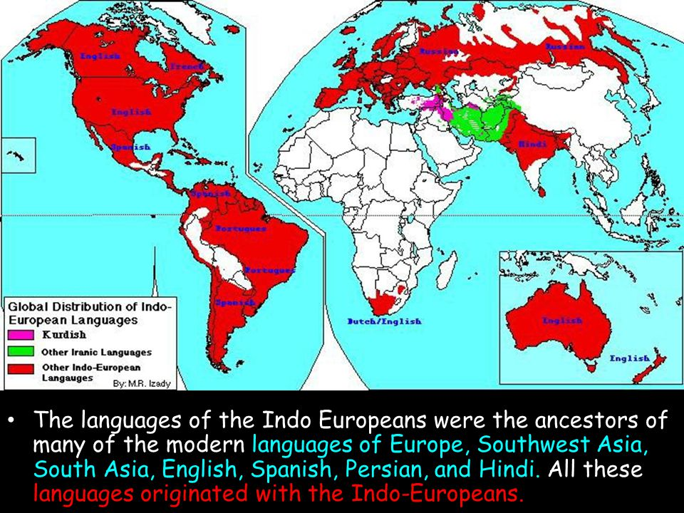 The Indo- European Language Family The languages of the Indo Europeans were the ancestors of many of the modern languages of Europe, Southwest Asia, S