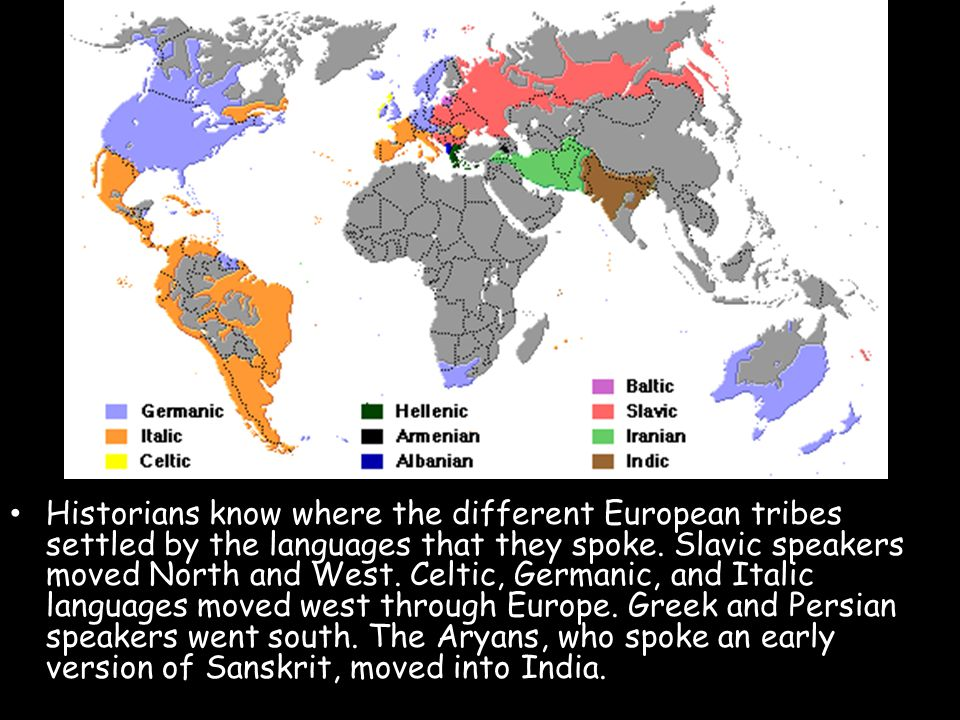 Historians know where the different European tribes settled by the languages that they spoke. Slavic speakers moved North and West. Celtic, Germanic,