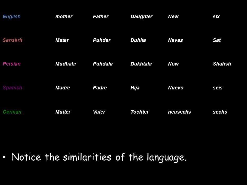 Notice the similarities of the language. EnglishmotherFatherDaughterNewsix SanskritMatarPuhdarDuhitaNavasSat PersianMudhahrPuhdahrDukhtahrNowShahsh Sp