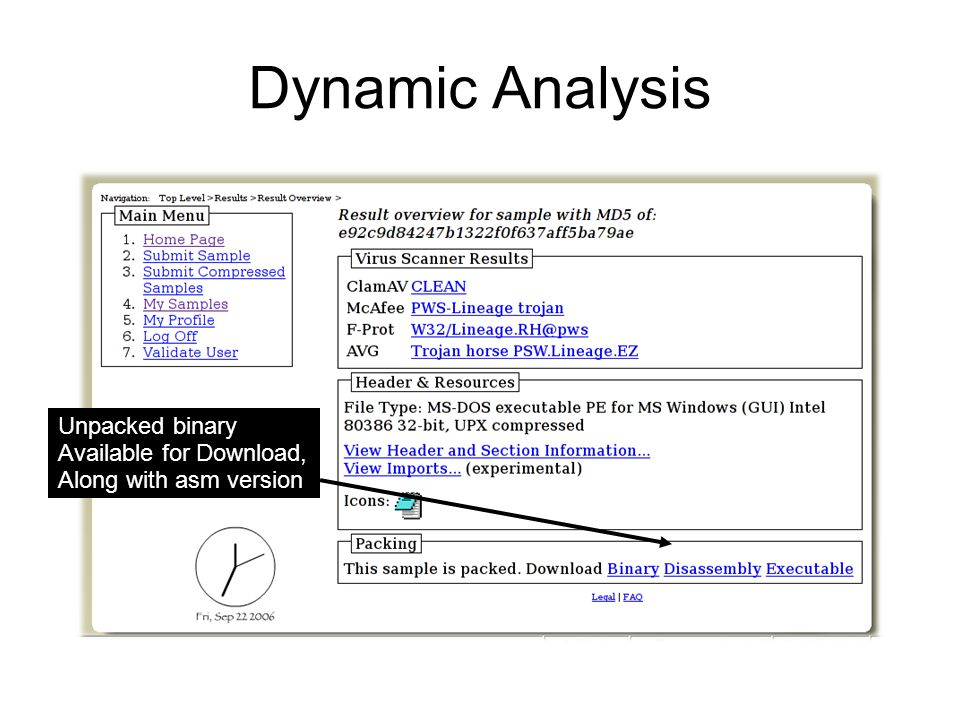 Dynamic Analysis Unpacked binary Available for Download, Along with asm version