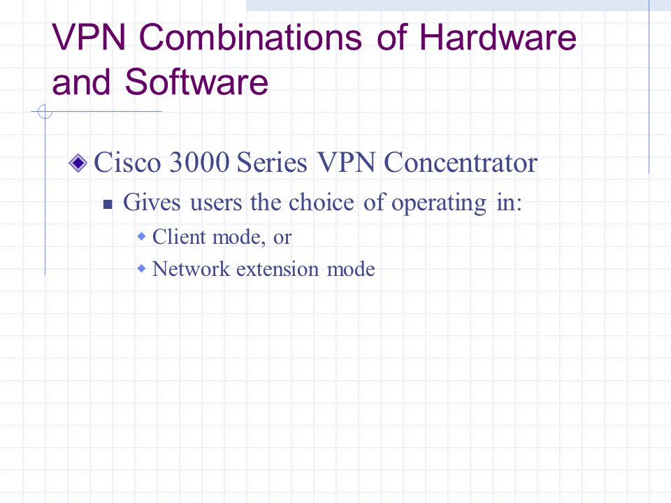 VPN Combinations of Hardware and Software Cisco 3000 Series VPN Concentrator Gives users the choice of operating in:  Client mode, or  Network extension mode