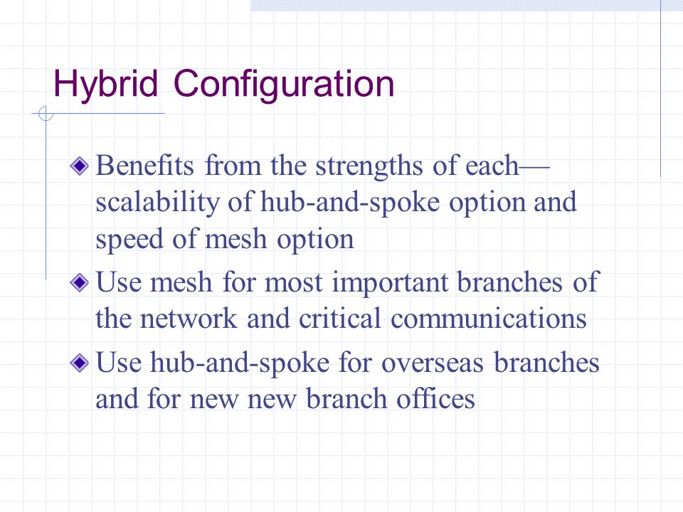 Hybrid Configuration Benefits from the strengths of each— scalability of hub-and-spoke option and speed of mesh option Use mesh for most important branches of the network and critical communications Use hub-and-spoke for overseas branches and for new new branch offices