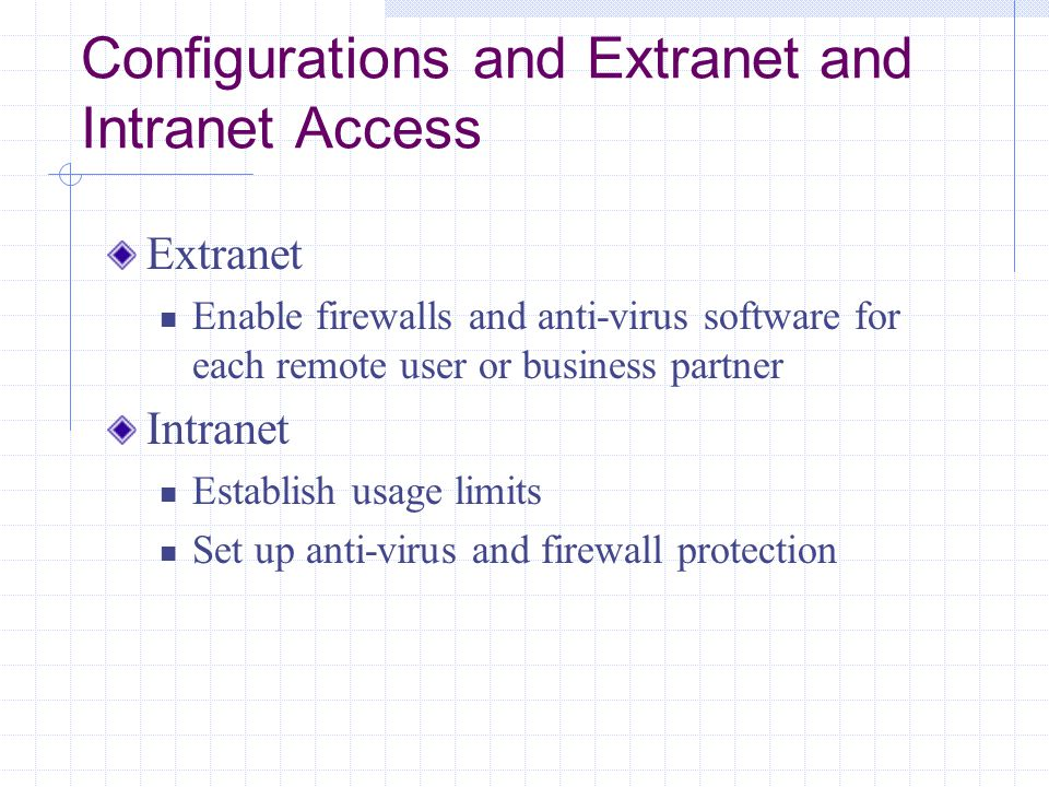 Configurations and Extranet and Intranet Access Extranet Enable firewalls and anti-virus software for each remote user or business partner Intranet Establish usage limits Set up anti-virus and firewall protection