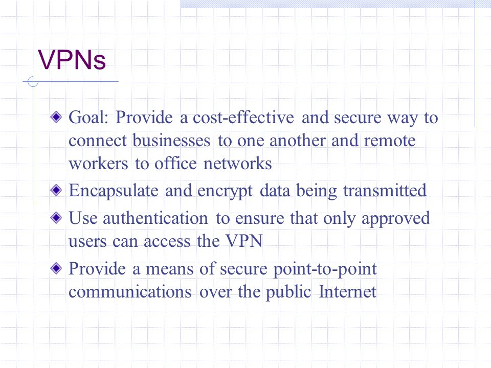 VPN Components and Operations Essential components that make up a VPN How VPNs enable data to be accessed securely Advantages and disadvantages of using VPNs compared to leased lines How VPNs extend network boundaries