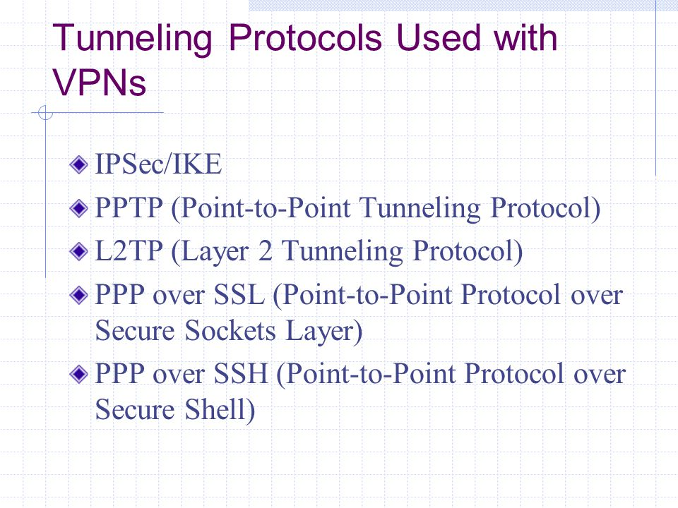 Tunneling Protocols Used with VPNs IPSec/IKE PPTP (Point-to-Point Tunneling Protocol) L2TP (Layer 2 Tunneling Protocol) PPP over SSL (Point-to-Point Protocol over Secure Sockets Layer) PPP over SSH (Point-to-Point Protocol over Secure Shell)