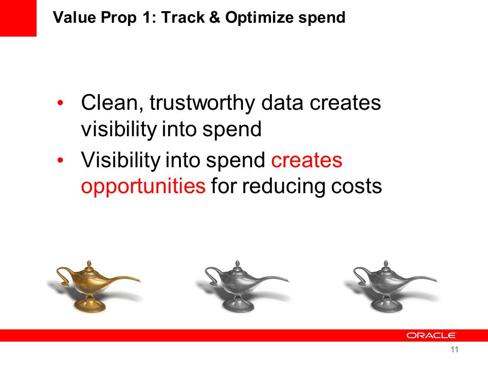 Value Prop 1: Track & Optimize spend Clean, trustworthy data creates visibility into spend Visibility into spend creates opportunities for reducing co