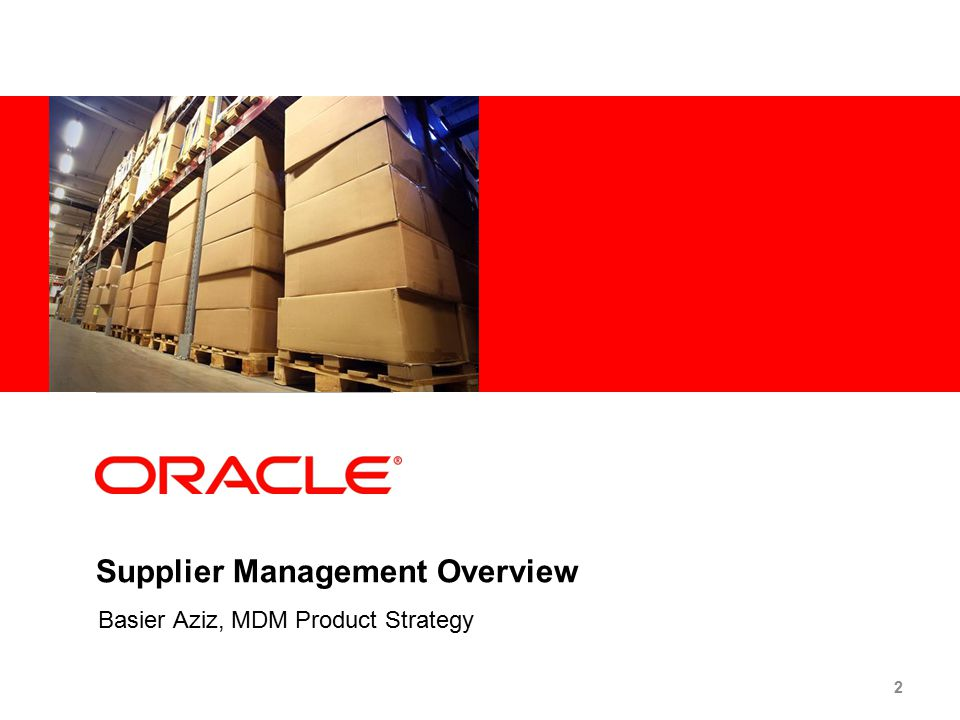 Supplier Management Overview Basier Aziz, MDM Product Strategy 2