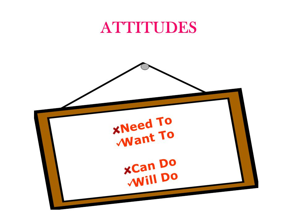ATTITUDES Need To Want To Can Do Will Do