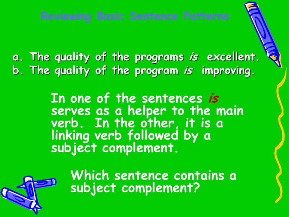 Reviewing Basic Sentence Patterns a.The quality of the programs is excellent. b.The quality of the program is improving. In one of the sentences is se
