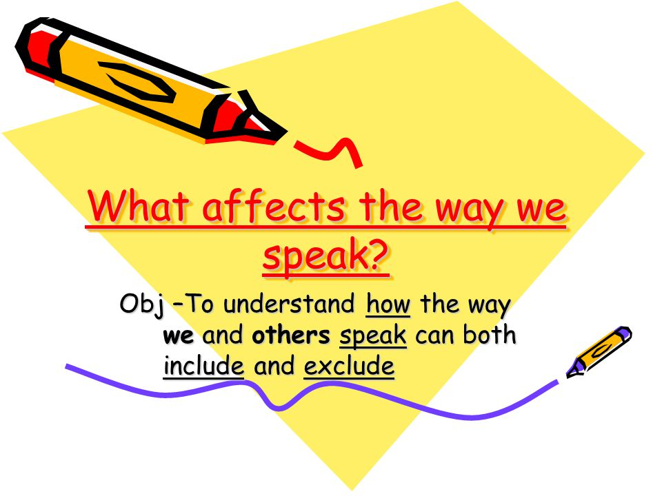 What affects the way we speak? Obj –To understand how the way we and others speak can both include and exclude