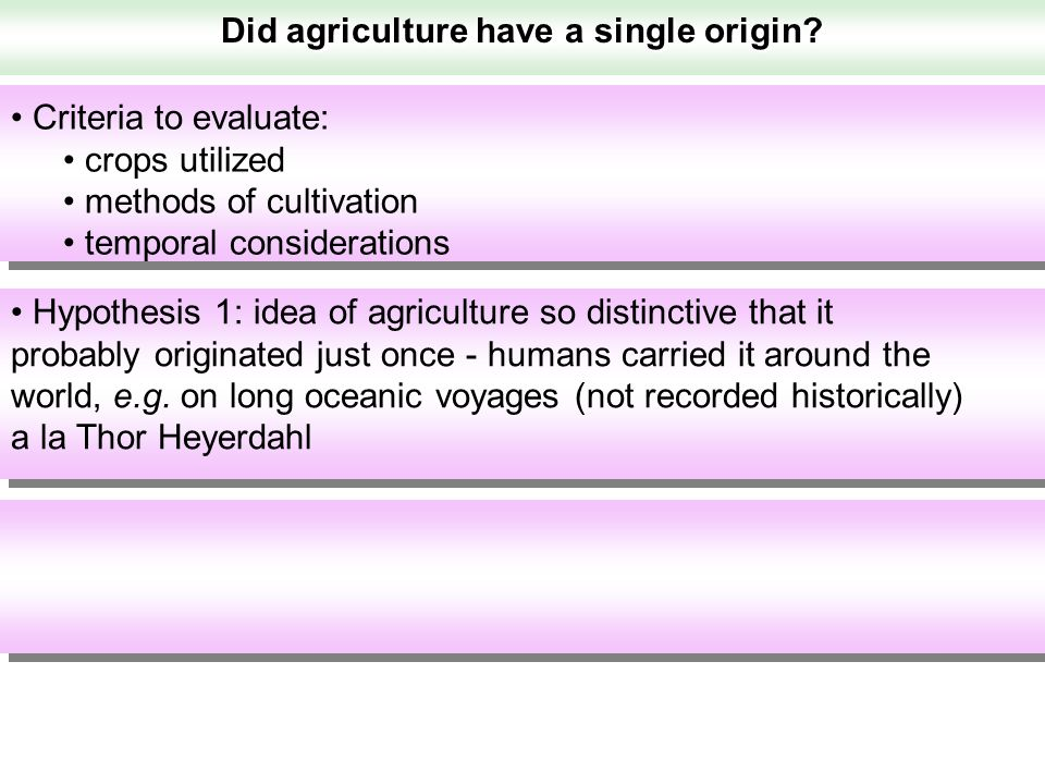 Did agriculture have a single origin? Hypothesis 1: idea of agriculture so distinctive that it probably originated just once - humans carried it aroun