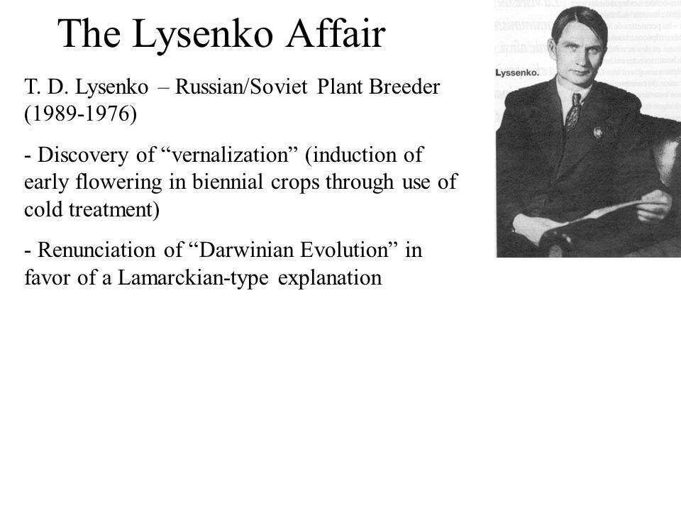 "The Lysenko Affair T. D. Lysenko – Russian/Soviet Plant Breeder (1989-1976) - Discovery of ""vernalization"" (induction of early flowering in biennial c"