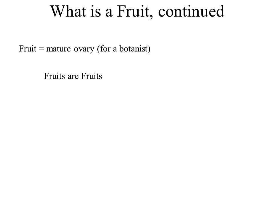 What is a Fruit, continued Fruits are Fruits Fruit = mature ovary (for a botanist)