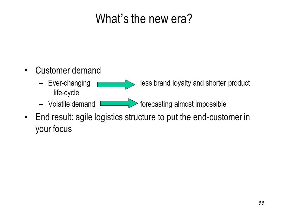 55 What ' s the new era? Customer demand –Ever-changing less brand loyalty and shorter product life-cycle –Volatile demandforecasting almost impossibl