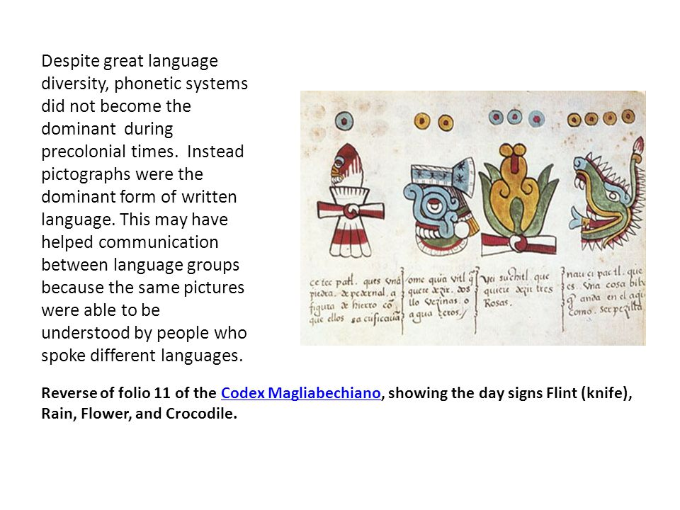 Reverse of folio 11 of the Codex Magliabechiano, showing the day signs Flint (knife), Rain, Flower, and Crocodile.Codex Magliabechiano Despite great l