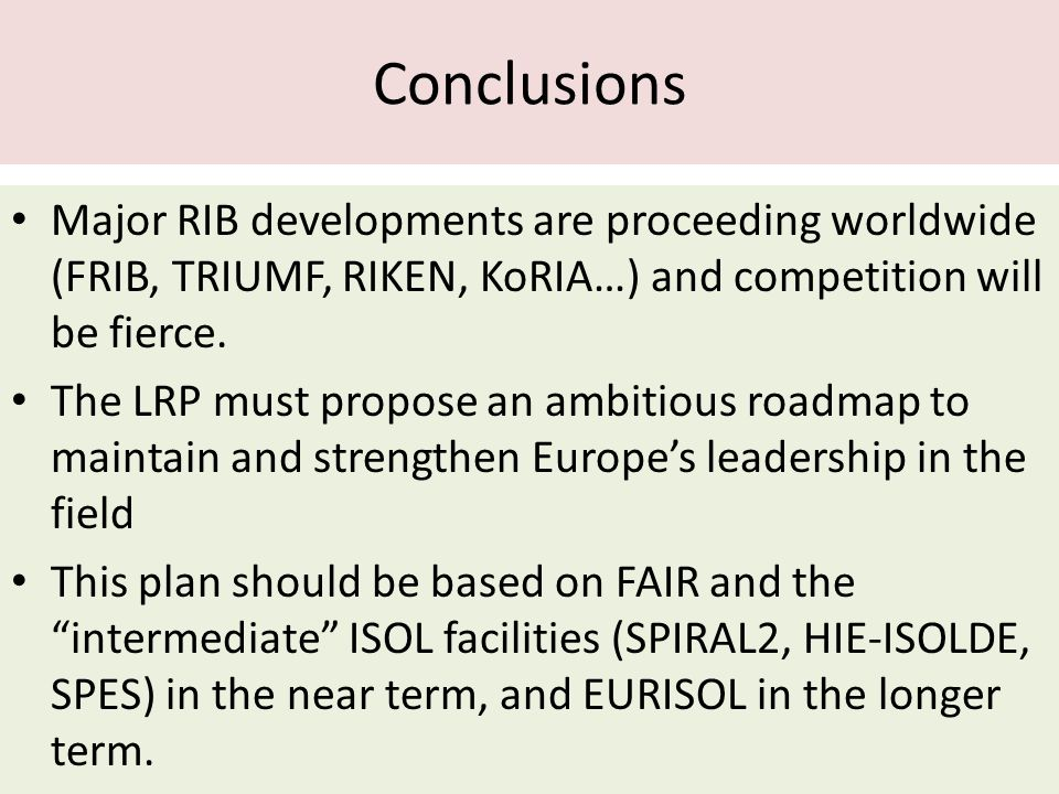 Conclusions Major RIB developments are proceeding worldwide (FRIB, TRIUMF, RIKEN, KoRIA…) and competition will be fierce.