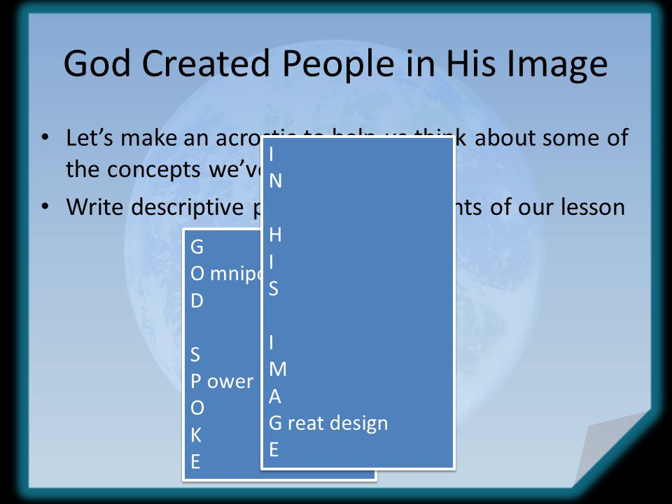 God Created People in His Image Let's make an acrostic to help us think about some of the concepts we've learned today.