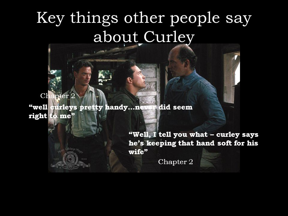 """Key things other people say about Curley """"well curleys pretty handy…never did seem right to me"""" """"Well, I tell you what – curley says he's keeping that"""