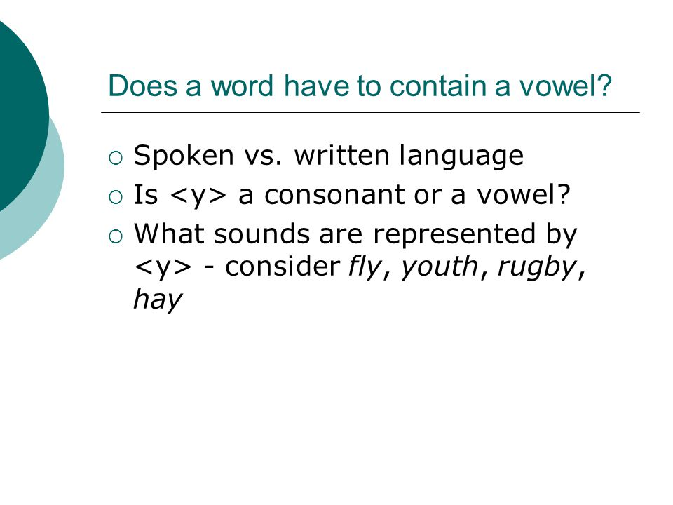 Does a word have to contain a vowel.  Spoken vs.