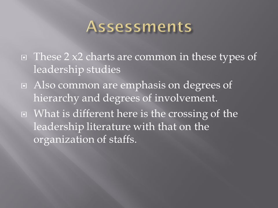  These 2 x2 charts are common in these types of leadership studies  Also common are emphasis on degrees of hierarchy and degrees of involvement.