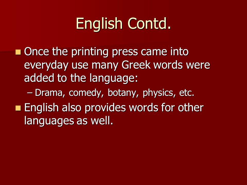 English Contd.