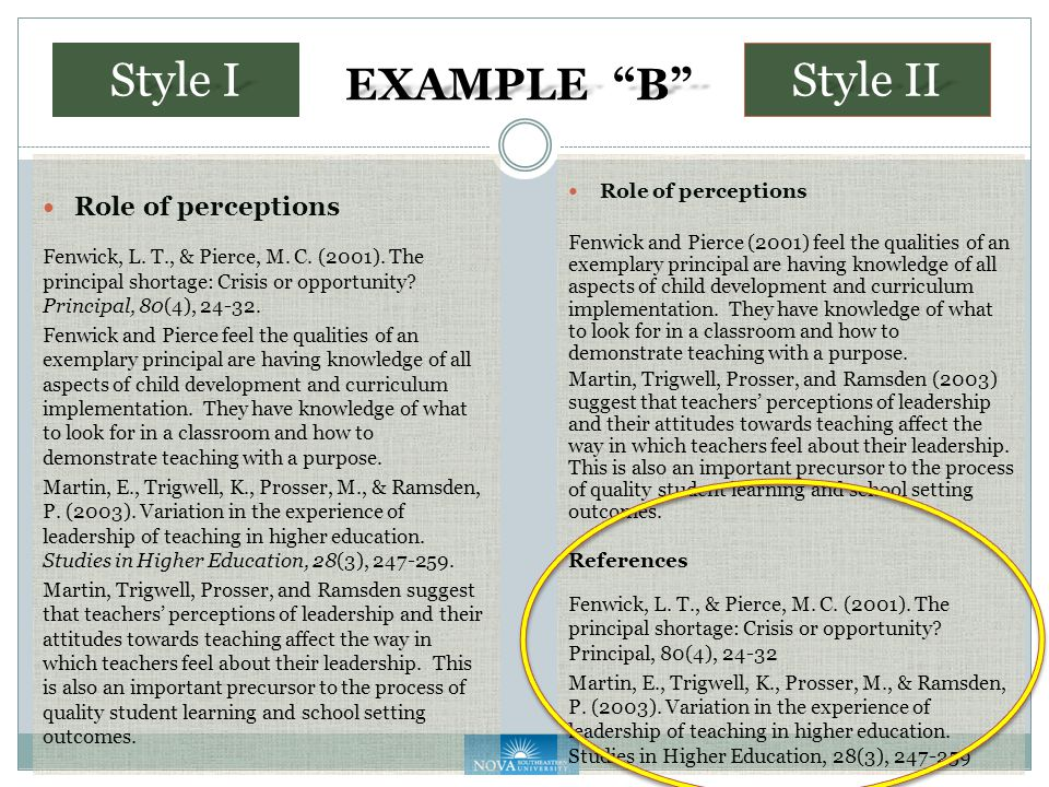 EXAMPLE B Role of perceptions Fenwick, L. T., & Pierce, M.