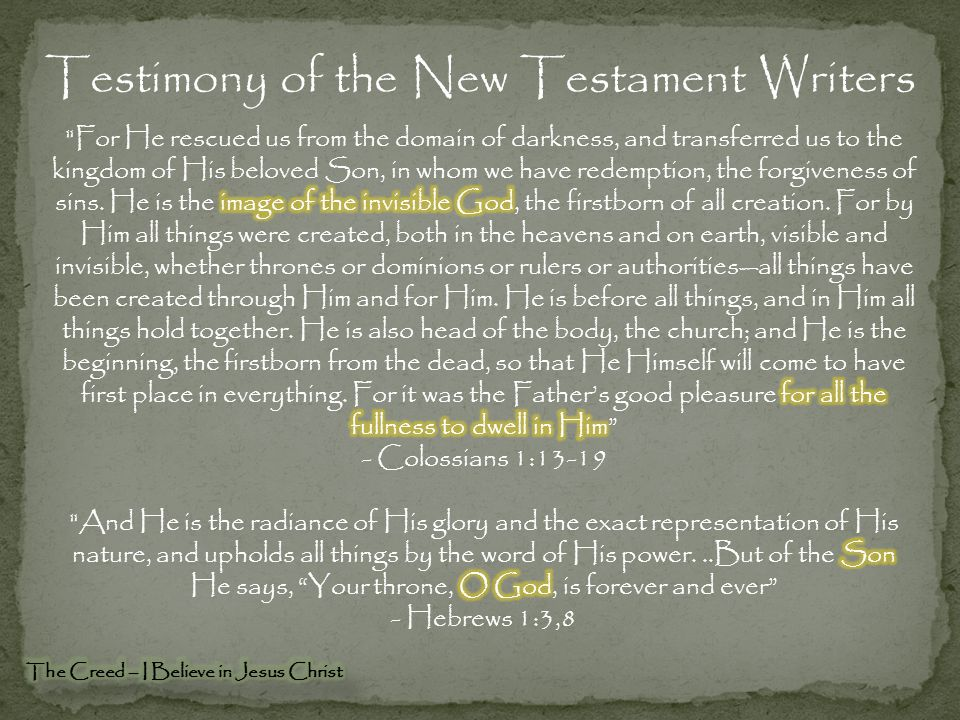 Testimony of the New Testament Writers