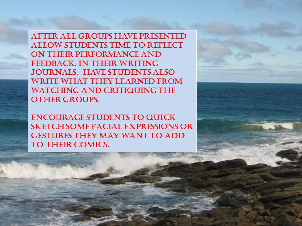 After all groups have presented allow students time to reflect on their performance and feedback.