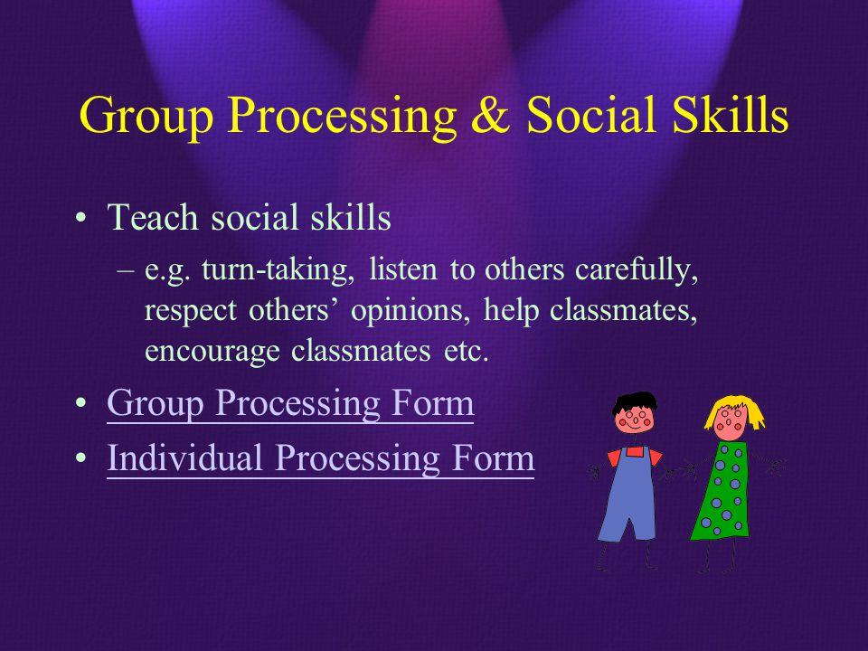 Group Processing & Social Skills Teach social skills –e.g.