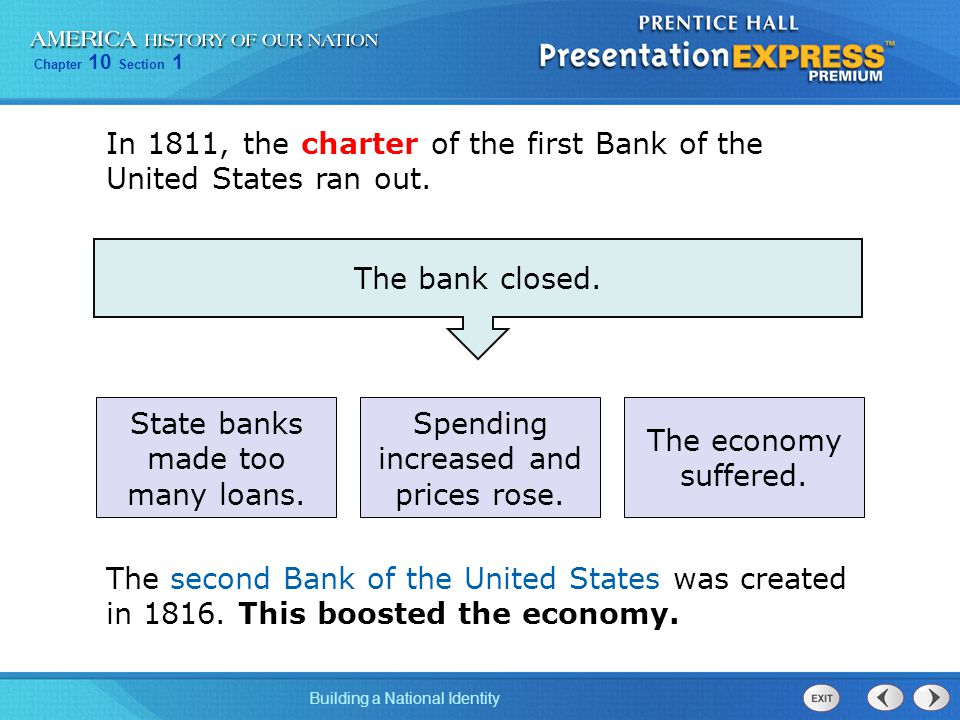 Chapter 10 Section 1 Building a National Identity In 1811, the charter of the first Bank of the United States ran out.