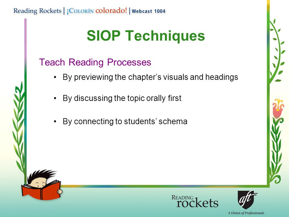 SIOP Techniques Teach Reading Processes By previewing the chapter's visuals and headings By discussing the topic orally first By connecting to students' schema