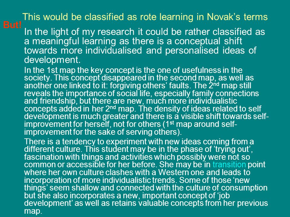 This would be classified as rote learning in Novak's terms In the light of my research it could be rather classified as a meaningful learning as there